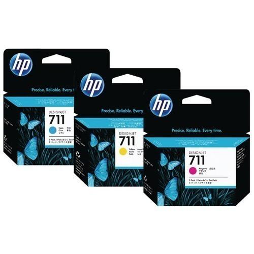 HP 711 set Cyaan Geel Magenta inkt cartridges 29 ml