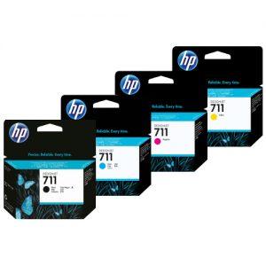 HP 711 complete set inkt 3 kleuren en zwart 38 ml