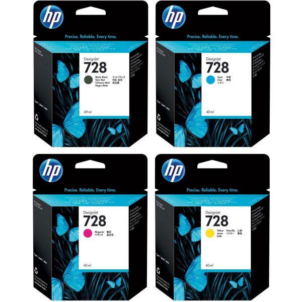 HP 728 complete set inkt 3 kleuren 130 ml en zwart 300 ml